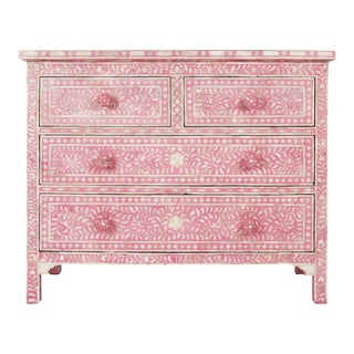Pink Bone Inlay Dresser For Sale