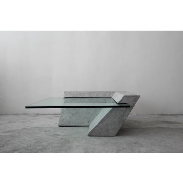 Gray Cantilevered Faux Concrete Plaster and Glass Coffee Table For Sale - Image 8 of 8