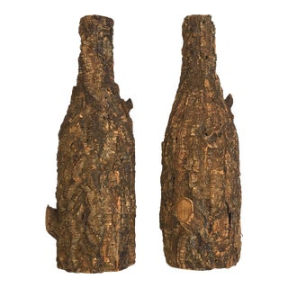 Mid Century Cork Covered Bottles- A Pair For Sale