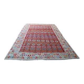 Afghan Colorful Chobi Kilim Rug For Sale