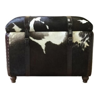 Cowhide Leather Storage Bench for Living Room