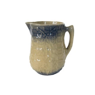 Antique Blue and Cream Stoneware Pottery Glazed Pitcher For Sale