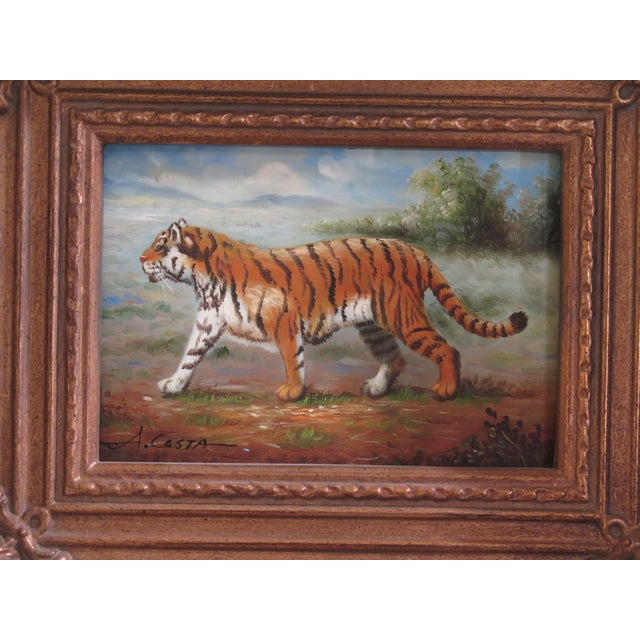 Traditional 1990s Vintage A.costa Framed Tiger Oil Painting on Board For Sale - Image 3 of 7
