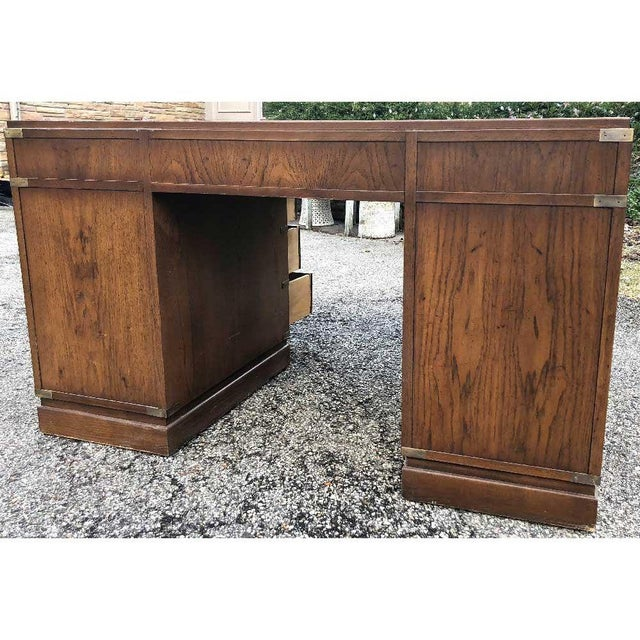 1970s Campaign Parnter Desk by Sligh For Sale In Chicago - Image 6 of 11
