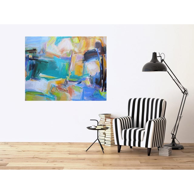 """Canvas """"Remembering Bermuda"""" by Trixie Pitts Extra-Large Abstract Oil Painting For Sale - Image 7 of 9"""