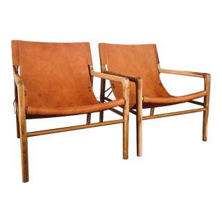 Contemporary Leather Safari-Style Slingback Chairs - a Pair For Sale