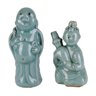Mid-20th Century Korean Celadon Water Droppers - a Pair For Sale