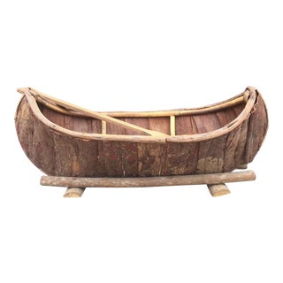 Handmade Bark and Wood Canoe For Sale