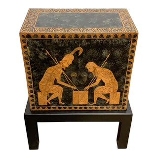 Grand Tour Style Polychromed Greek Motif Cabinet on Stand For Sale