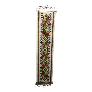 1960s Vintage Swedish Twist Stitch Embroidered Wall Hanging / Tapestry Textile Art For Sale