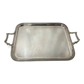 1980s Vintage French Silver Plated Tray For Sale
