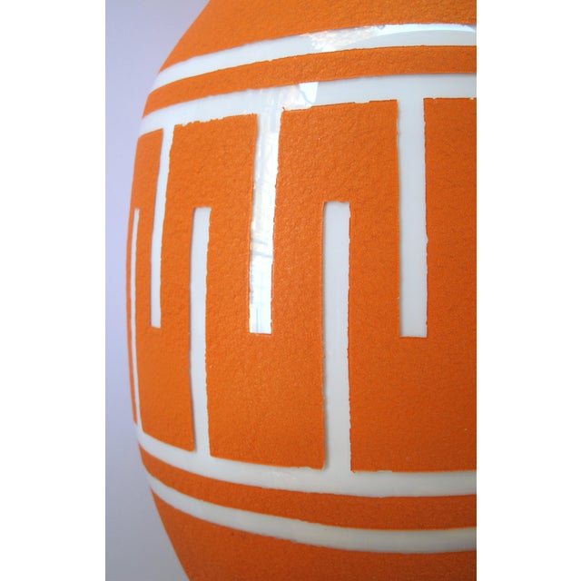 A Tall and Striking American 1960's Orange Glazed Vase With White Ground For Sale - Image 4 of 5