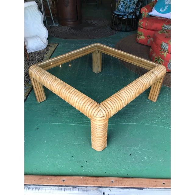 Brown Vitange Large Split Rattan Coffee Table For Sale - Image 8 of 11