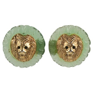 Kalinger Paris Signed Lion Head Clip on Earrings Aqua Green Resin and Gilt Metal For Sale