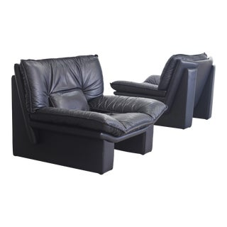 Nicoletti Salotti Italian Modern Leather Chairs - Set of 2 For Sale