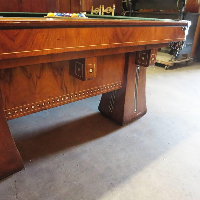 Arts & Crafts 1915 Brunswick Arcade Pool Table With Rare Six-Legged Base For Sale - Image 3 of 8