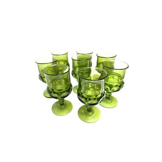 1960s Indiana Glass Green Kings Crown Thumbprint Goblets - Set of 8 For Sale