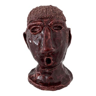 1970s Vintage Maroon Ceramic Head Bust Sculpture For Sale