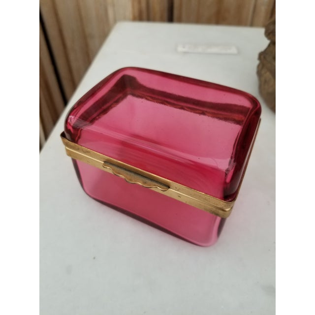 Glass Antique Cranberry Glass Box For Sale - Image 7 of 7