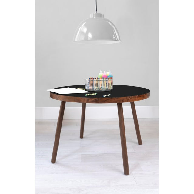 """Contemporary Poco Small Round 23.5"""" Kids Table in Walnut With Black Top For Sale - Image 3 of 4"""