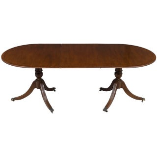 1960s English Traditional Double Pedestal Dining Table With Leaf For Sale