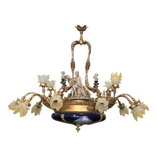 Hand-Painted Meissen Porcelain Chandelier Le Belvedere Estate For Sale