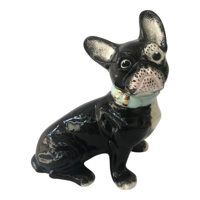 Vintage Black and White Ceramic French Bulldog For Sale