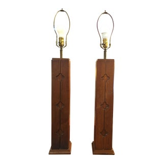 Mid-Century Walnut Table Lamps - a Pair For Sale