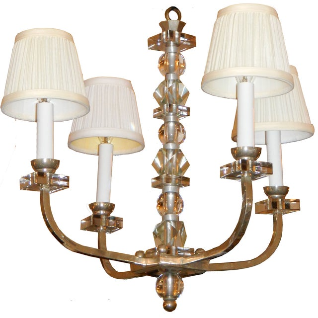 French Vintage Jacques Adnet Chandelier For Sale