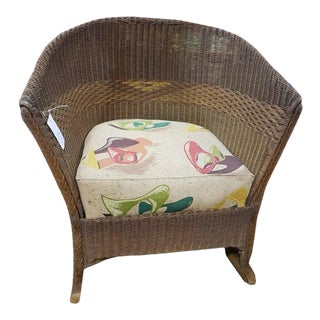 1940s Vintage Wicker Rocking Chair For Sale