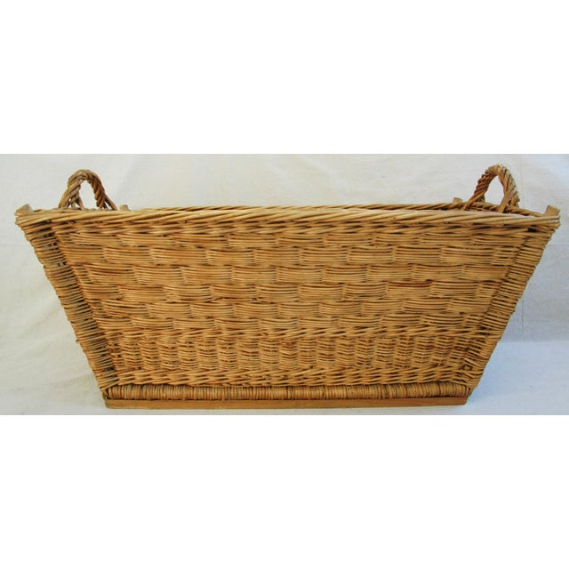 French Early 1900s French Willow & Wicker Market Basket For Sale - Image 3 of 9