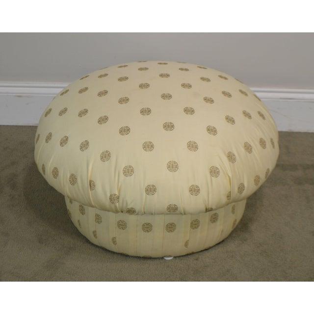 Karl Springer Postmodern Custom Upholstered Pair Mushroom Pouf Ottomans After Karl Springer For Sale - Image 4 of 13