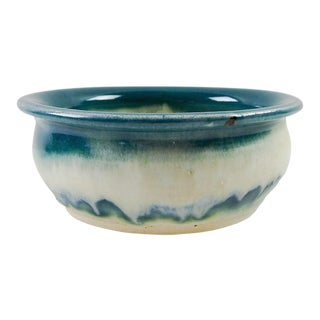 Teal & White Studio Pottery Bowl For Sale