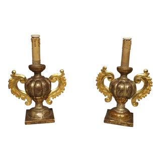 Antique Giltwood Italian Candlesticks Circa 1880 For Sale