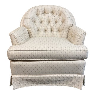 Ethan Allen Tufted Ivory Arm Chair For Sale
