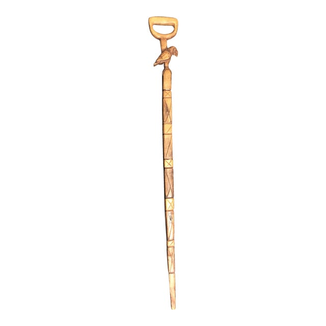 Hand Carved Vintage Walking Stick with Parrot - Image 1 of 9
