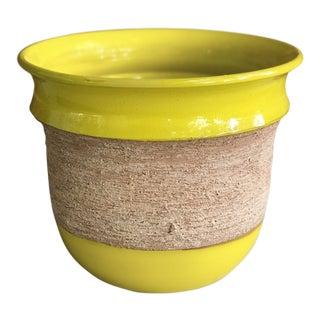 1960s Boho Chic Yellow Glazed Terracotta Planter For Sale