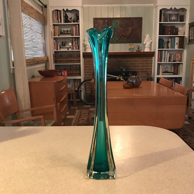 Hand Blown Vintage Art Glass Vase For Sale - Image 11 of 11