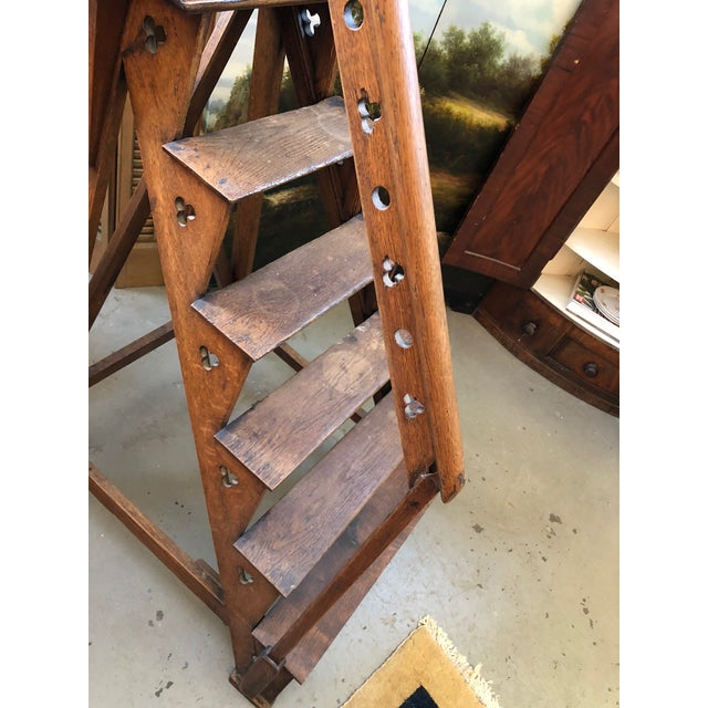 Wood Mid 19th Century Neo Gothic English Oak Library Athenae Steps For Sale - Image 7 of 11