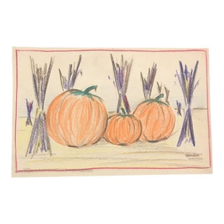 1940s Evelyn Underwood Autumn With Pumpkins Drawing For Sale
