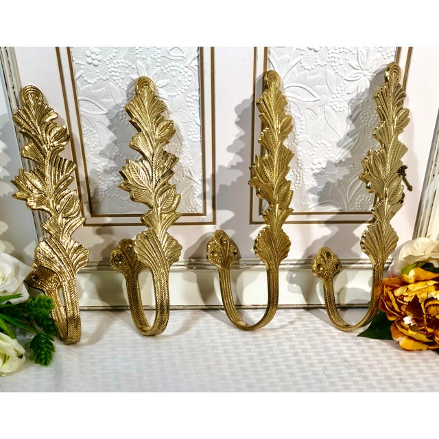 Early 21st Century Brass Leaves Curtain Tie Backs - Set of 4 For Sale - Image 5 of 6
