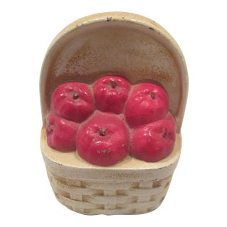 1950s Cottage Cast Iron Apple Basket Door Stop For Sale