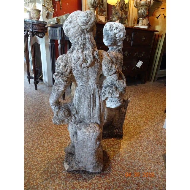 1950s Pair of Vintage French Stone Statues For Sale - Image 5 of 13