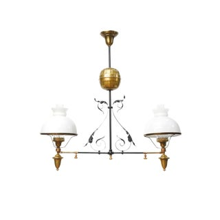 French Iron and Brass Two Light Oil Fixture