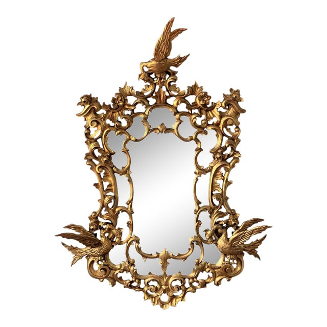 20th Italian Giltwood Carved Eagles Mirror For Sale