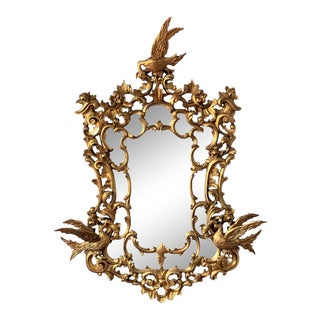 20th Italian Large Giltwood Carved Eagles Mirror For Sale