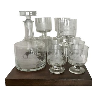 Custom Etched Sailboat Nautical Glass Decanter With 10 Footed Glasses For Sale