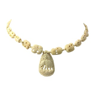 Carved Bone Elephant Pendant Necklace For Sale