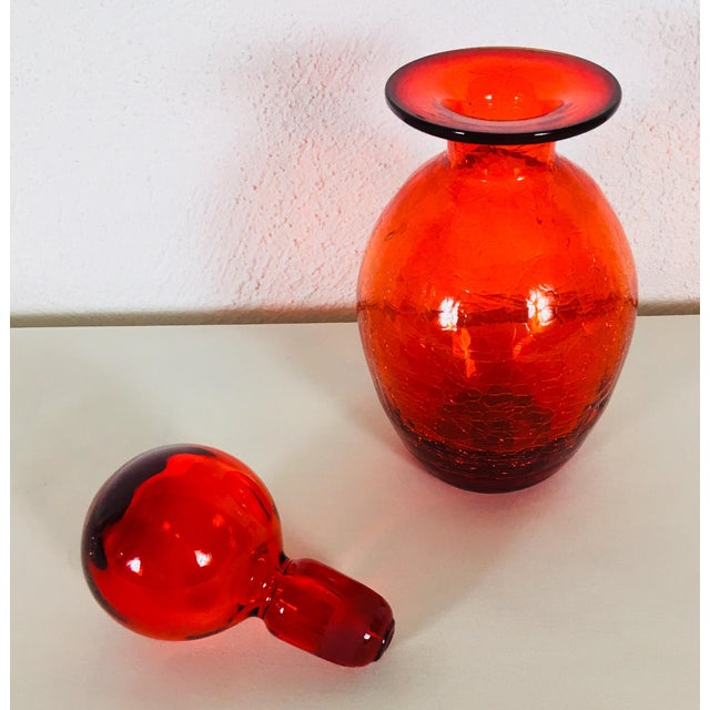 1970s Blenko 1971 Brilliant Red Glass Vessel For Sale - Image 5 of 9