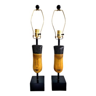 Mid-Century Modern African Face Table Lamps- a Pair For Sale